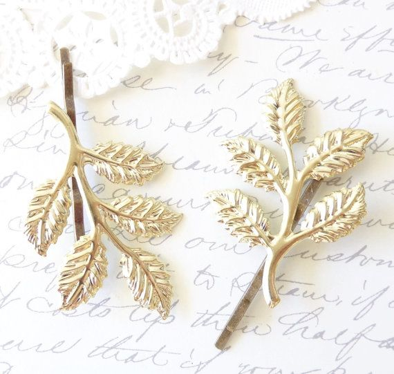 Gold Leaf Branch Bobby Pin Set - Leaf Spray Hair Pins - Woodland Collection - Whimsical - Nature - Bridal by NestingPretty #TrendingEtsy