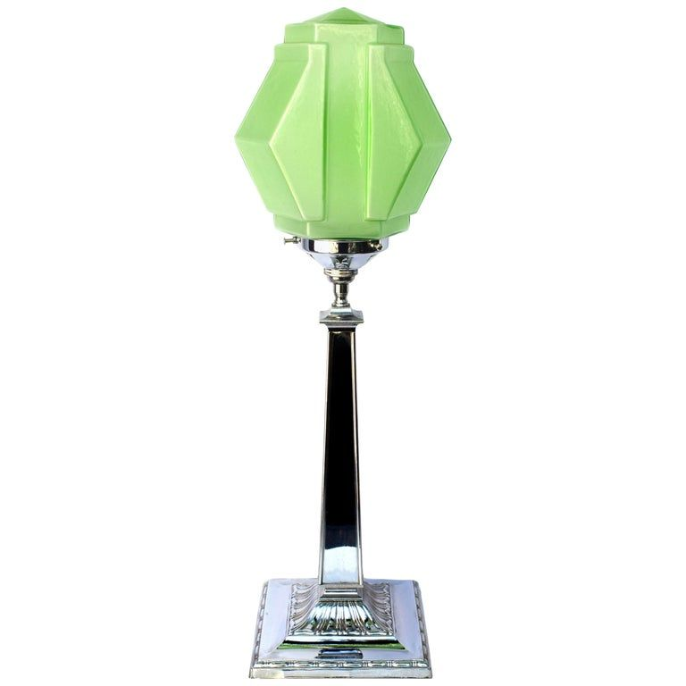 Art Deco Chrome Lamp With Stylish Green Shade Circa 1930s Art Deco Glass Art Deco Lamps Art Deco Table Lamps