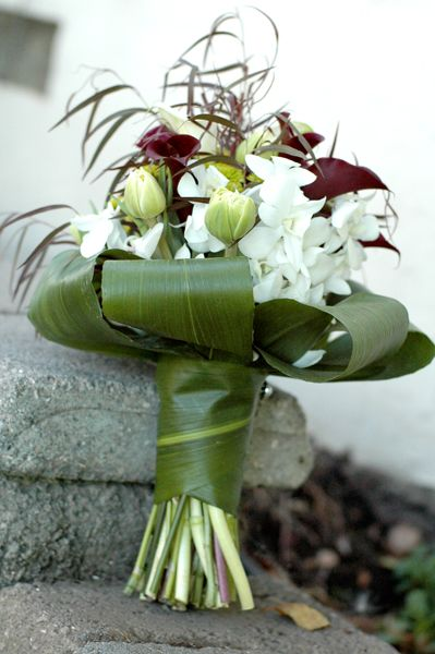 Orchids And Calla Lilies In A Tea Leaf Wrap Natural Bridal