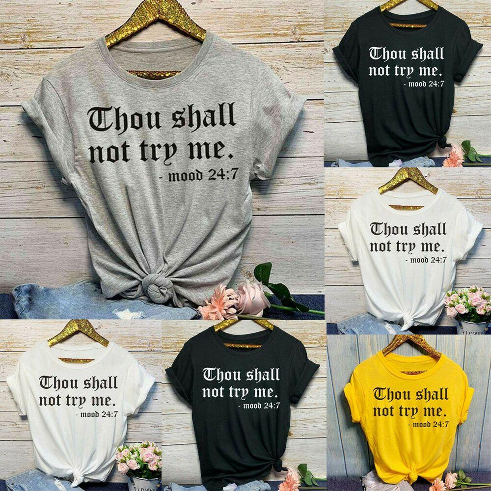 Women Summer Short Sleeve T-Shirt Fashion Letter Printed Ladies O Neck Tops
