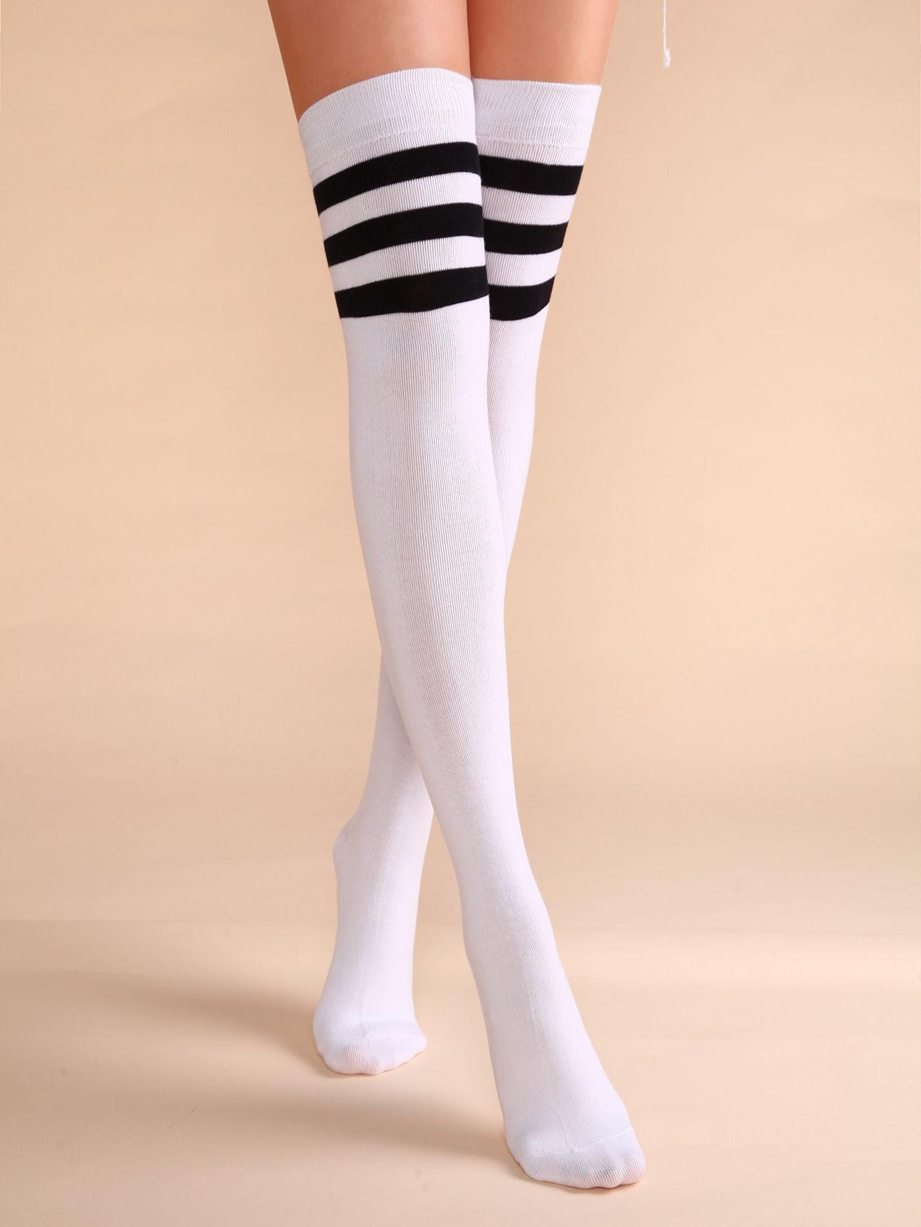 Ladies White Thigh High Over The Knee Referee Socks with Blue and Red Stripes