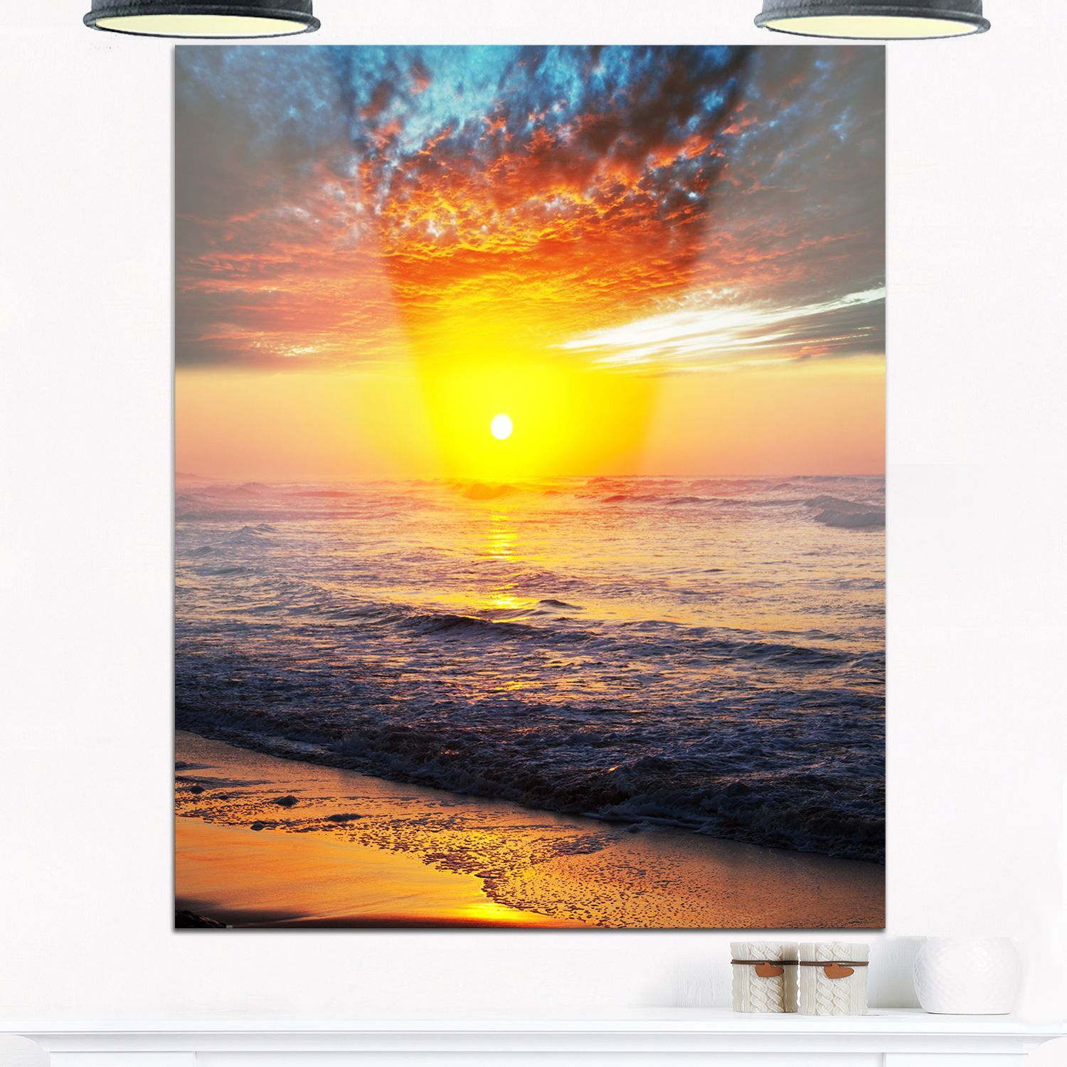 Bright Sunset over Waters - Modern Beach Glossy Metal Wall Art ...