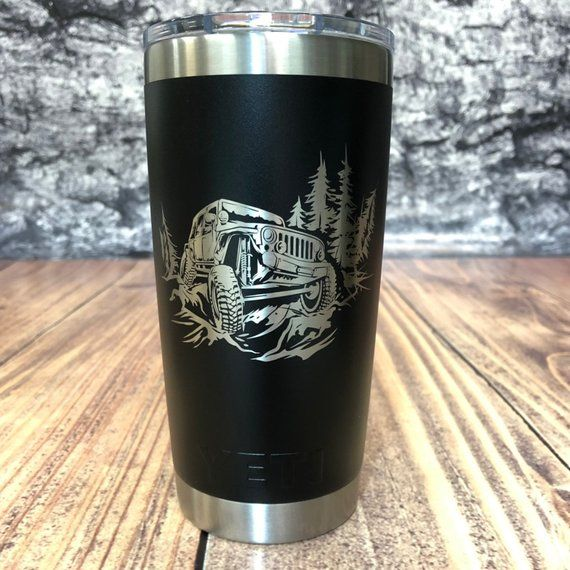 39f383af8e8 YETI 20oz Tumbler laser etched JEEP Wrangler Off-road Graphics - Engraved  Yeti Cup - Laser engraved