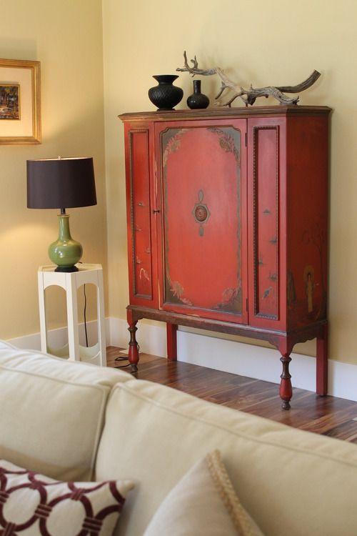 Vintage Red Asian Cabinet