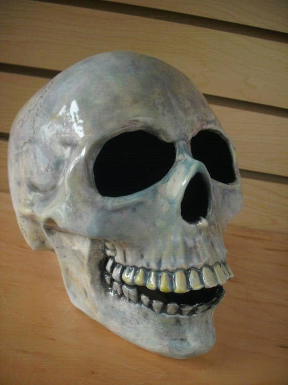 Human skull sculpture Gothic Halloween home decor Large Halloween - large outdoor halloween decorations