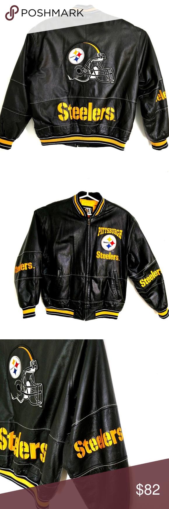 Vintage Pittsburg Steelers Leather Jacket Size L Mens