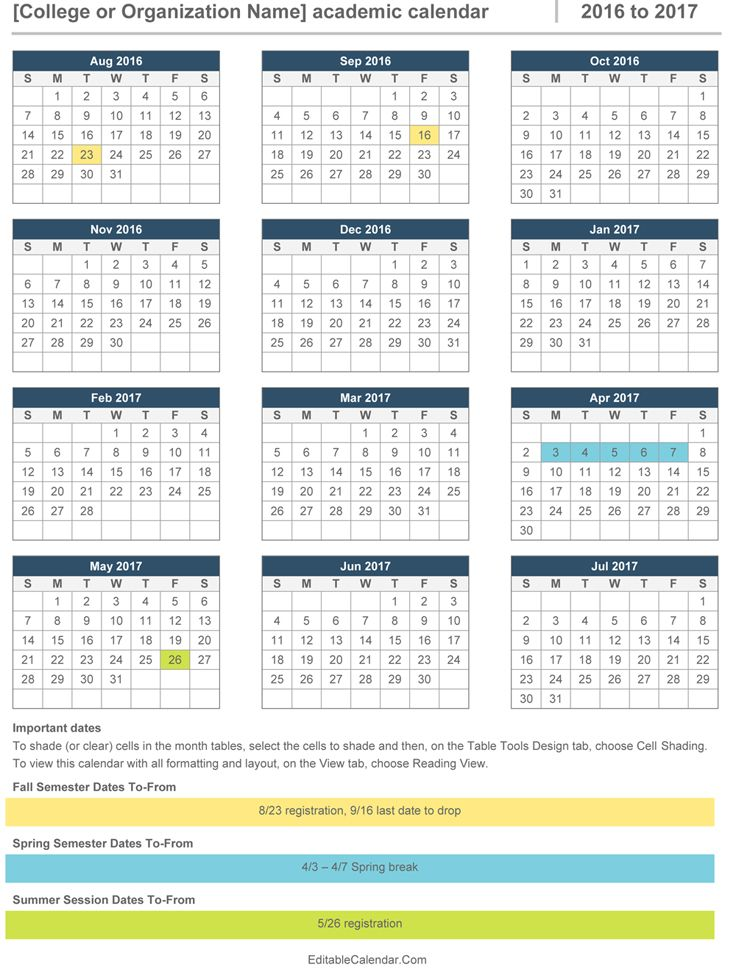 This Is 2016 2017 Academic Calendar Template In MS Word. The Calendar Runs  From August