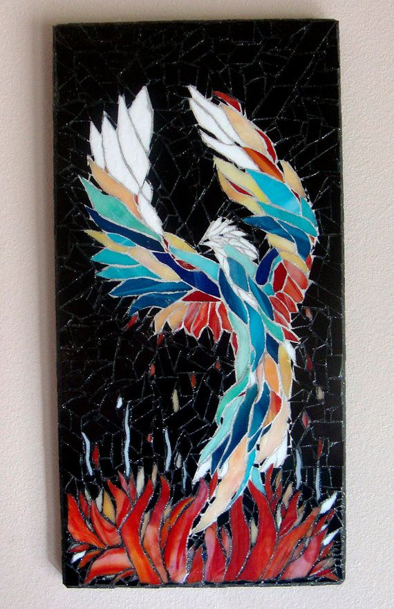Phoenix Stained Glass Mosaic Art Original Ooak by zzbob on Etsy, $418.00