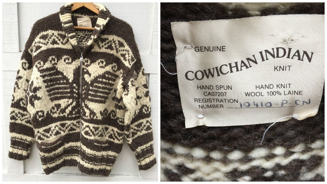 Vintage Genuine Cowichan Indian Native American Knit Sweater With