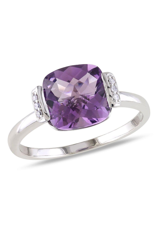 Elegant Diamonds 0.03ct Diamond and ct Amethyst Ring in 10k White Gold - Beyond the Rack