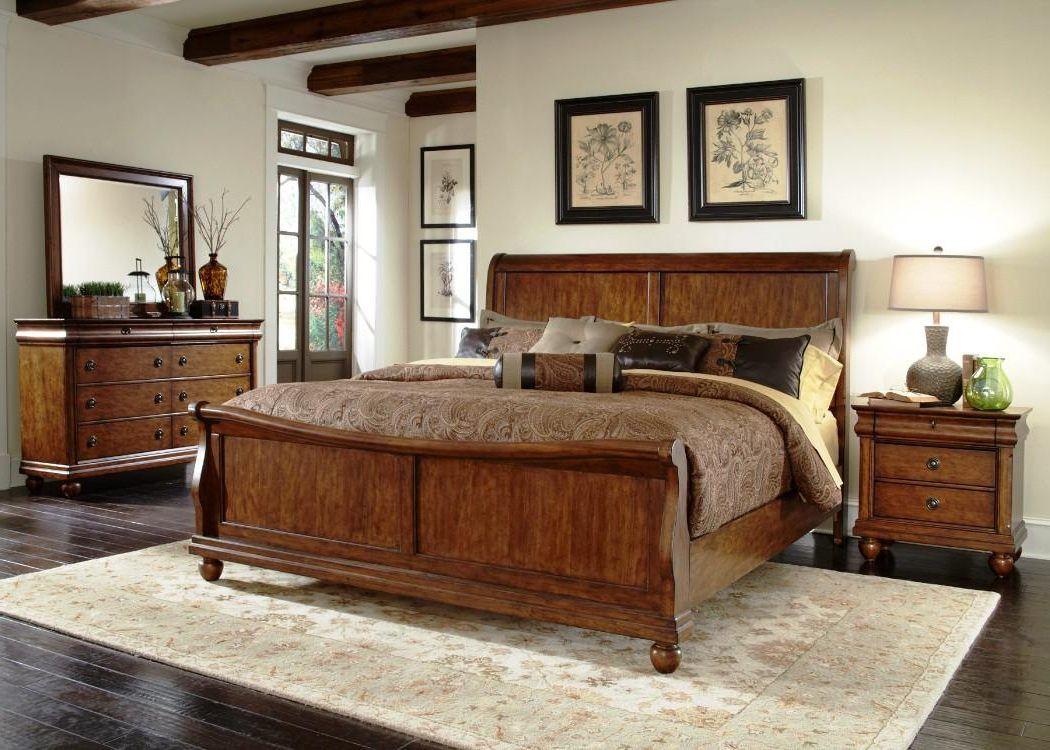 Rustikales Schlafzimmer Design Ideen Beige Teppich Auf