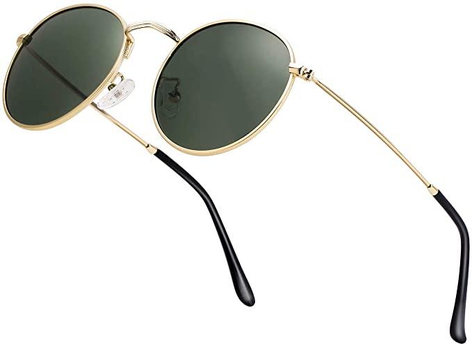 Vintage Round Sunglasses Men//Women Classic Retro Designer Style with Case Unisex Polarized Sunglasses For Men//Women UV 400 Protection 57MM