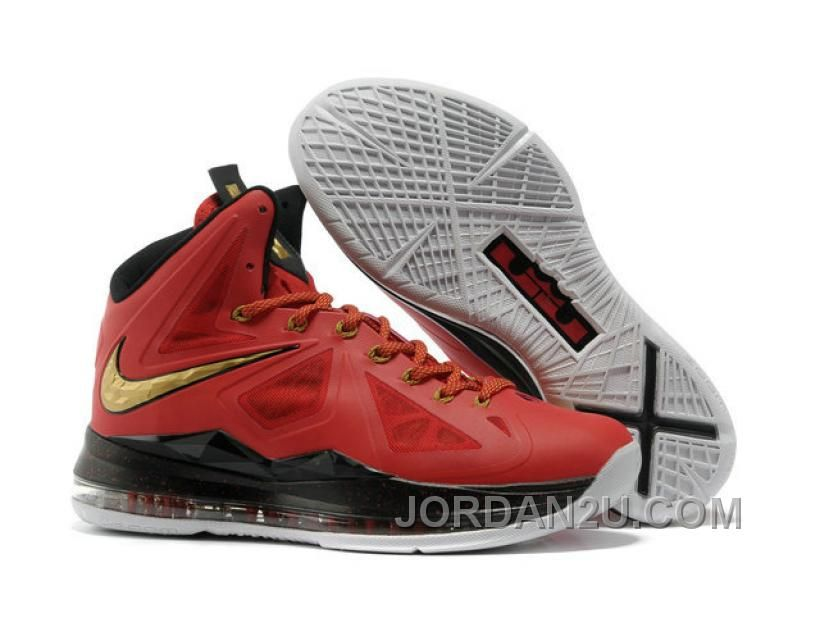 timeless design 48eca 1f823 Nike Air Max LeBron James X 10 Miami Red Gold Basketball shoes New Jordans  Shoes
