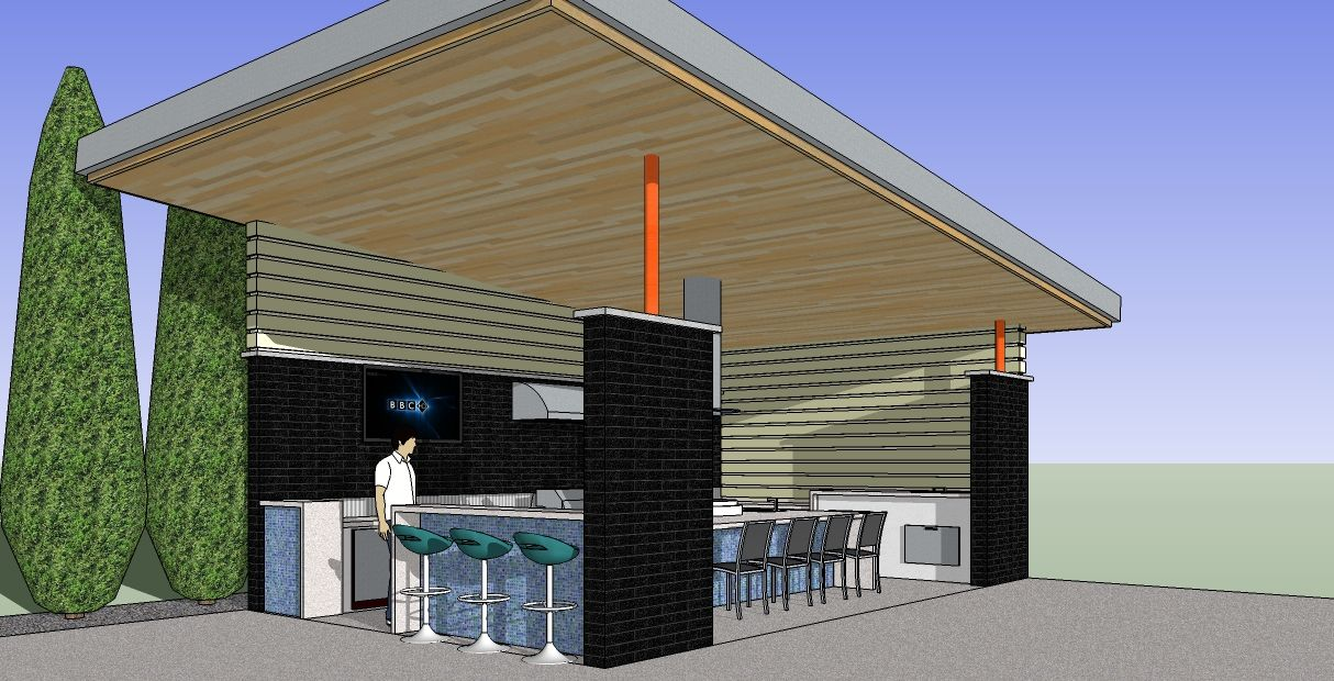 Modern Cabana Design - Dallas Sketchup Model_2011 ... on Sketchup Backyard id=66701