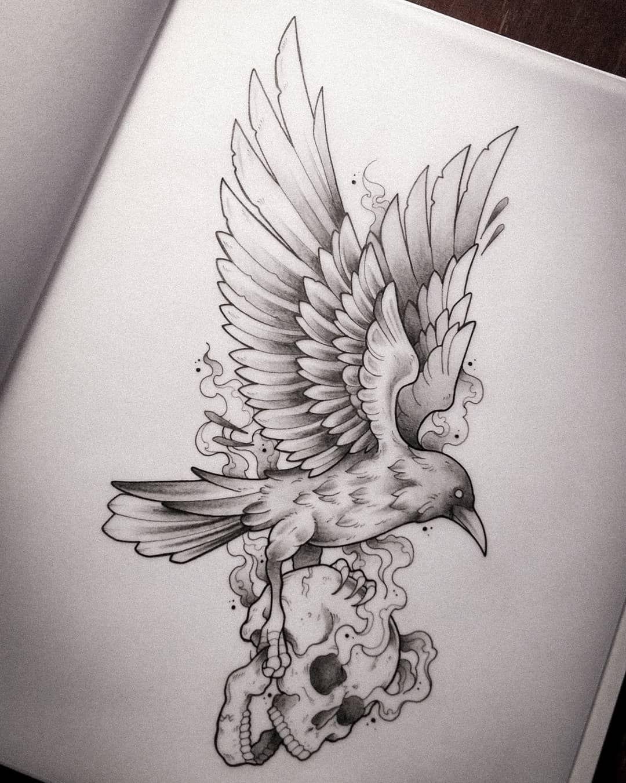 Diseño disponible 🔥  #draw #sketch #illustration #illust #blackillustration #design #tatuaje #diseño #designer #graphicdesign #ink #inked #inking #tattooo #tattoodesign #artline #tattooflash #blackwork #blackworktattoo #dotwork #dotworktattoo #menjurjeink #delujo #crow #crowtattoo #skull #skulltattoo