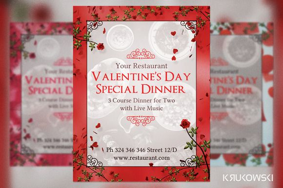 ValentineS Day Dinner For Two Flyer  Flyer Template Graphics