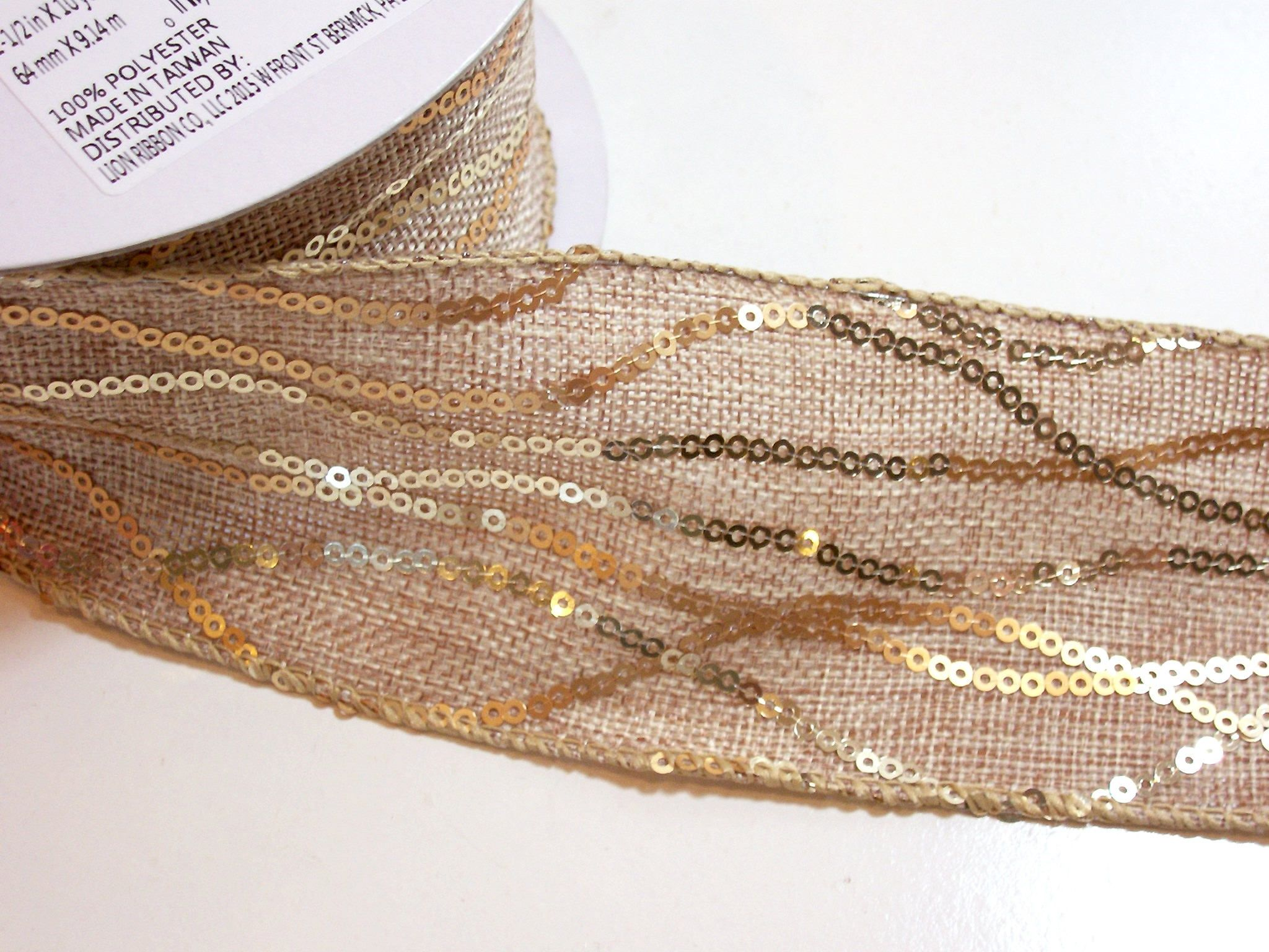 "10 Yards Christmas Gold Glitter Sparkly Wired Ribbon 2 1//2/""W"