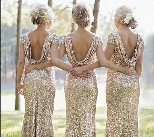 Bridesmaid Sequin Dress Sequins D Gown Gold Bridesmaids Silver Low Back