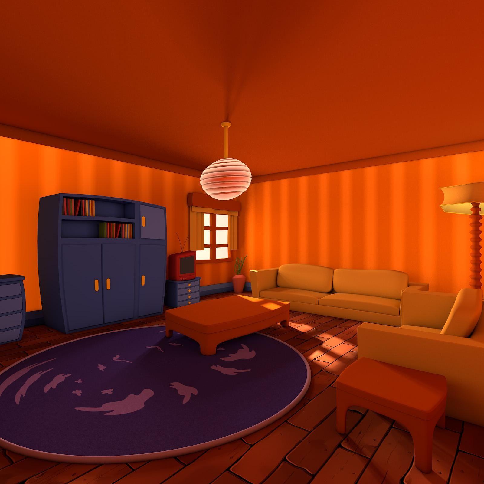 Cartoon Living Room 3d Model Ad Living Cartoon Model Room 3d