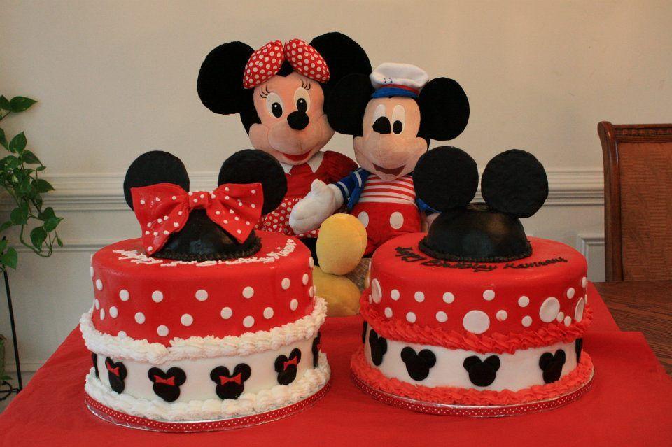Peachy Mickey And Minnie Birthday Cake With Images Minnie Birthday Funny Birthday Cards Online Overcheapnameinfo