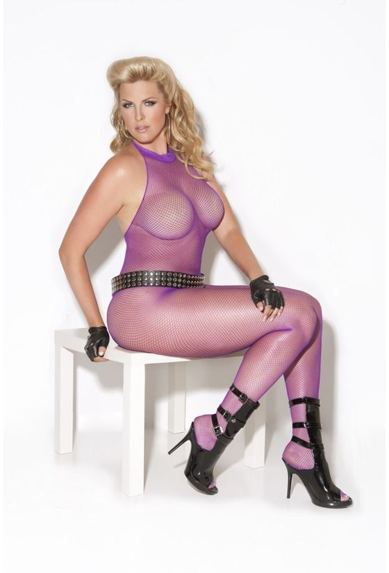 b9703e5c644 Sexy Plus Size High Collar Purple Fishnet Halter bodysuit Stocking Mesh  Lingerie  17.50