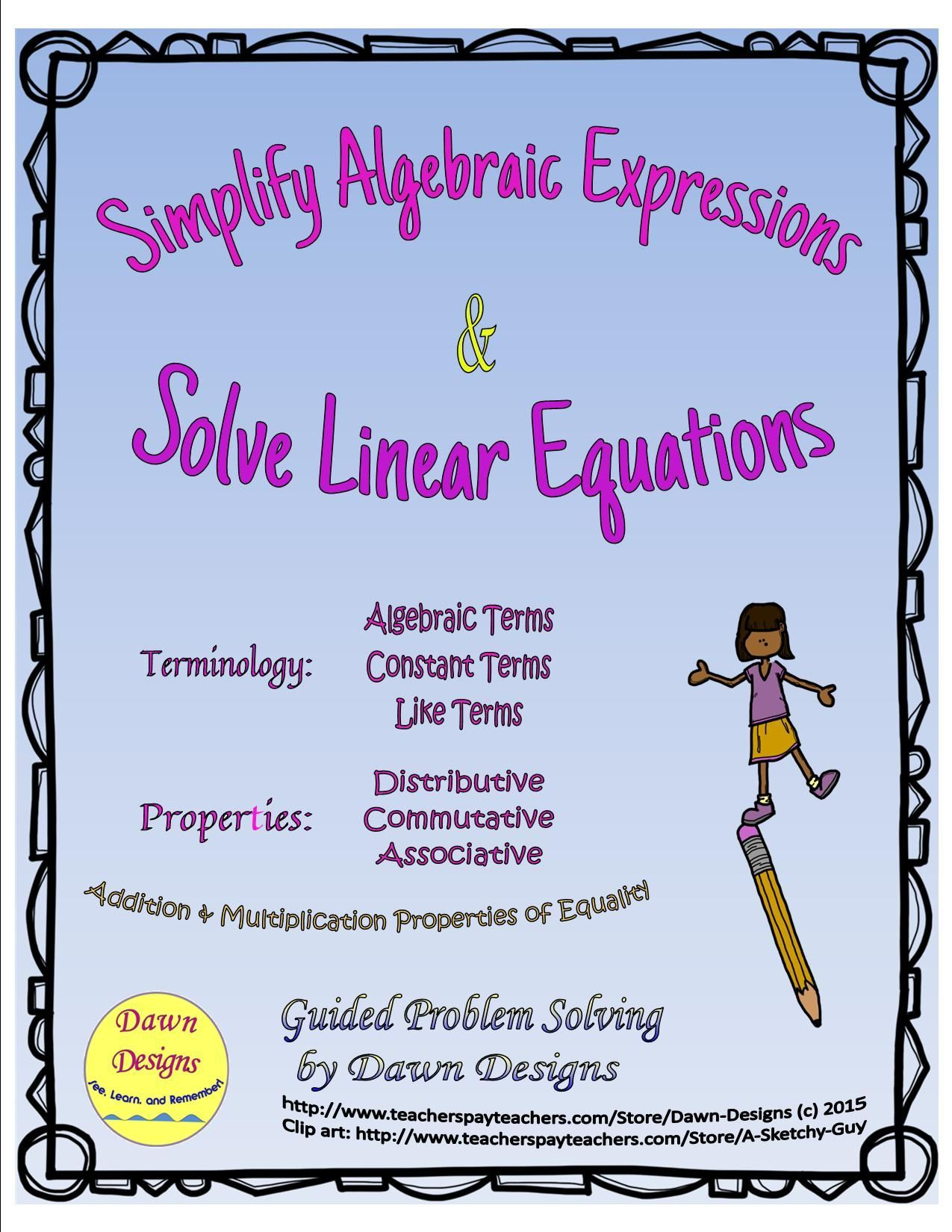 simplify algebraic expressions, solve linear equations; addition and