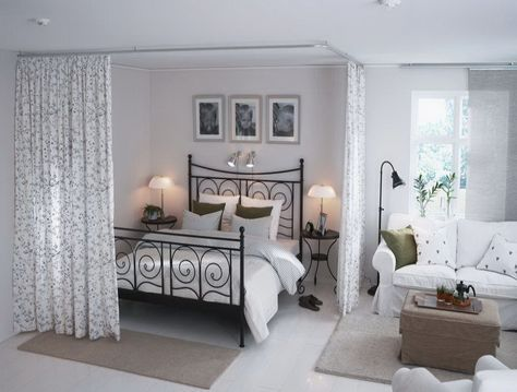 love the curtains to separate the bedroom space | Small ...