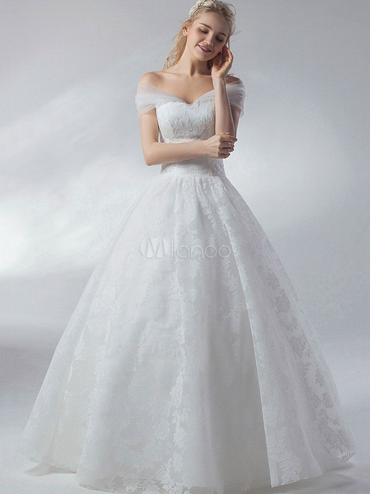 Wedding Dresses Ball Gown Princess Ivory Off The Shoulder Lace