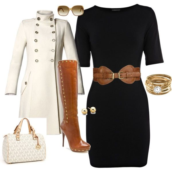 office wardrobe ideas. I Have A Belt Like That And Dress Too. Just Need The Boots, Bag Coat. This Outfit. Office Wardrobe Ideas