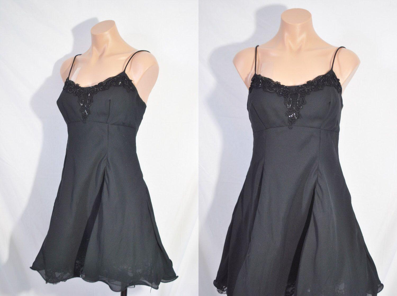 Vintage s black slip dress little black dress sleeveless cocktail