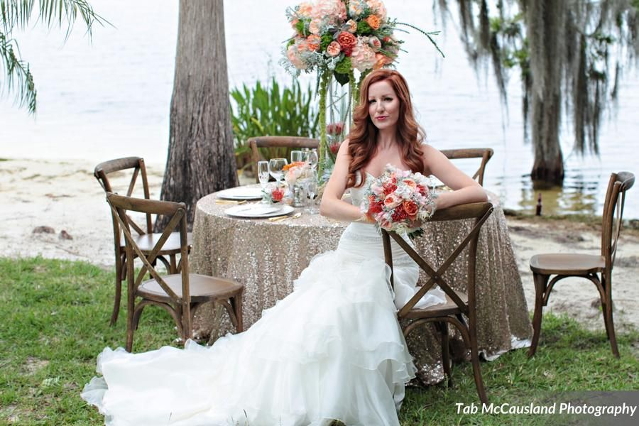 The Little Mermaid just adores our French Country Chairs! They were the perfect fit for this shoot! Many thanks to Tab McCausland Photography, Paradise Cove Orlando, Anna Cakes, FyerFly Productions, Over the Top Rental Linens and Pretty Peacock Paperie - Custom Luxury Invitations and Paper Goods
