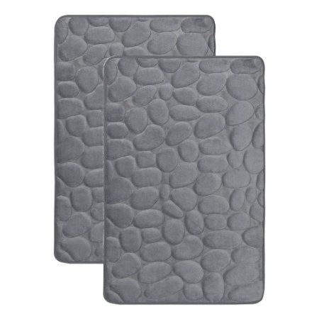 Gray Memory Foam Bath Mat Rug Set Set Of 2 Mats 17 X 24 Non