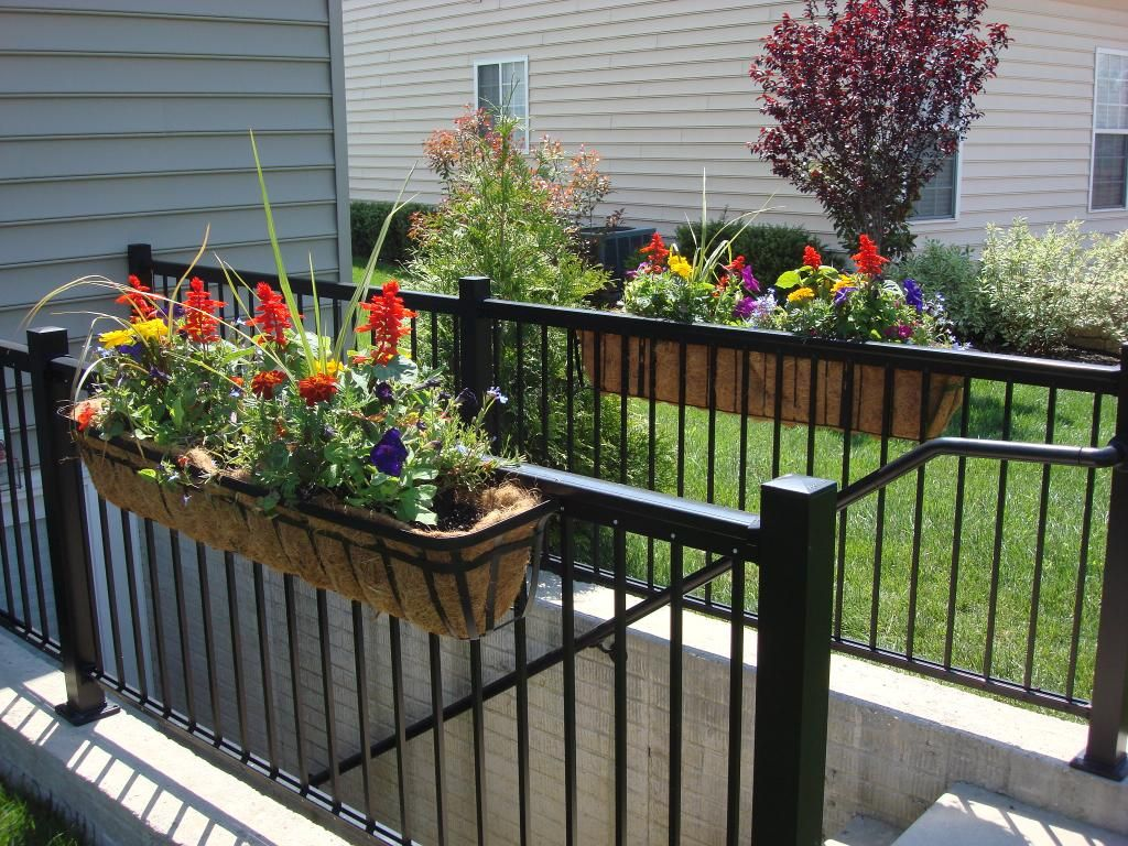Deck rail planter container gardening pinterest for Deck garden box designs