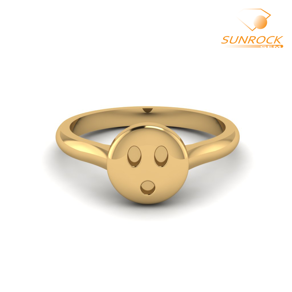 Caught In The Act Emoticon Ring Yellow Gold Yellow Gold Rings Emoji Ring Band Jewelry