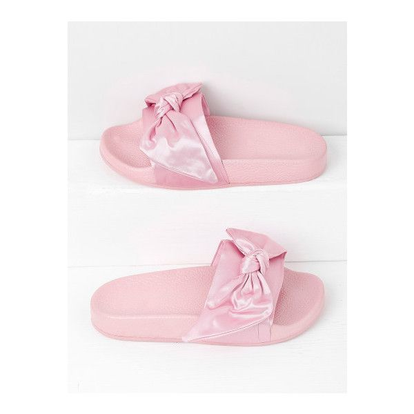 99ed69bfeeed0a SheIn(sheinside) Bow Tie Design Satin Slides ( 28) ❤ liked on Polyvore  featuring shoes