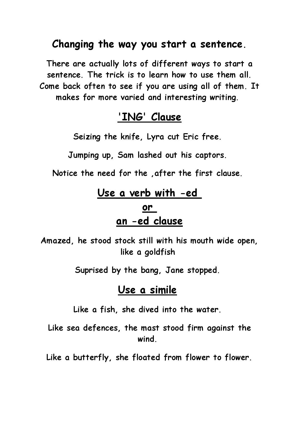 Page 1 Of Some Different Ways To Start A Sentence