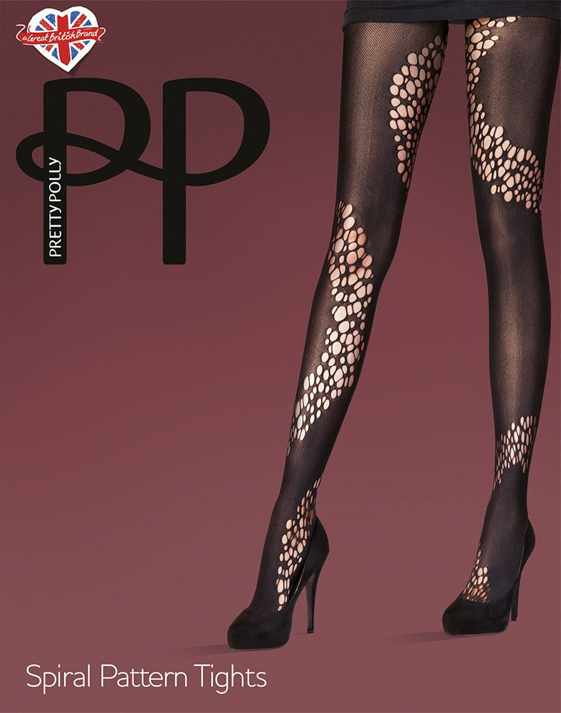 38303b590d8 One Size Pretty Polly Spiral Pattern Tights PNAUY1 Black  fashion  clothing   shoes