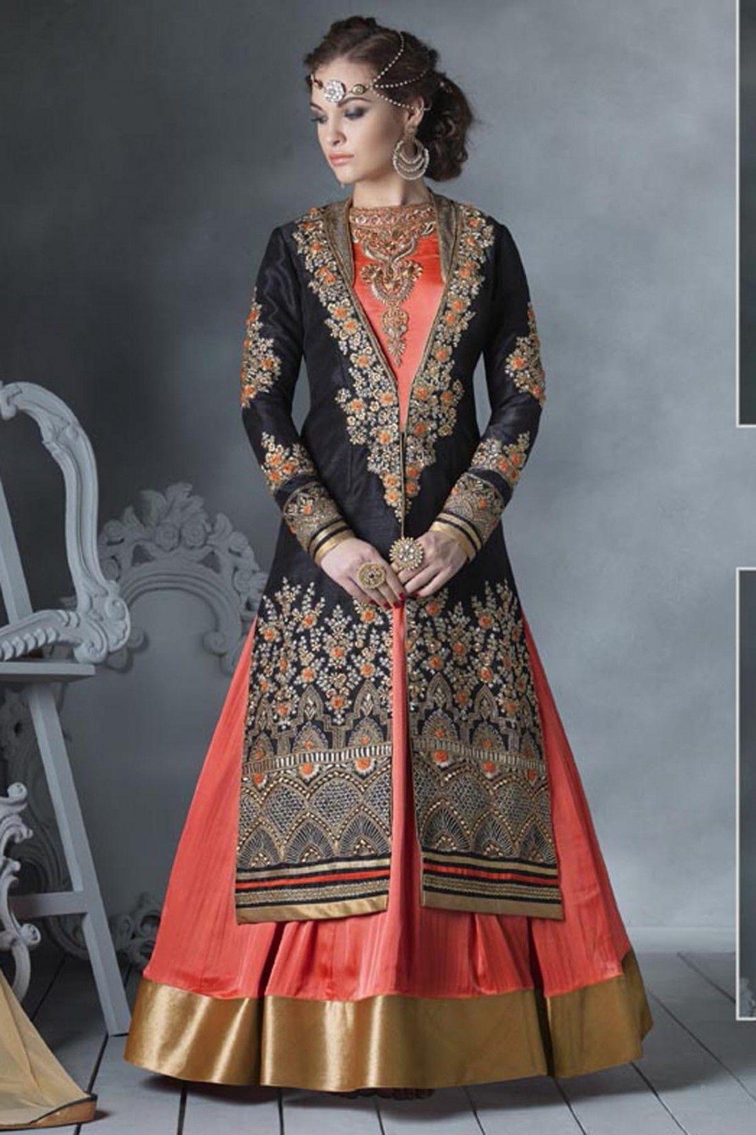 Black and Orange Bhagalpuri Silk Anarkali Suit online shopping ...