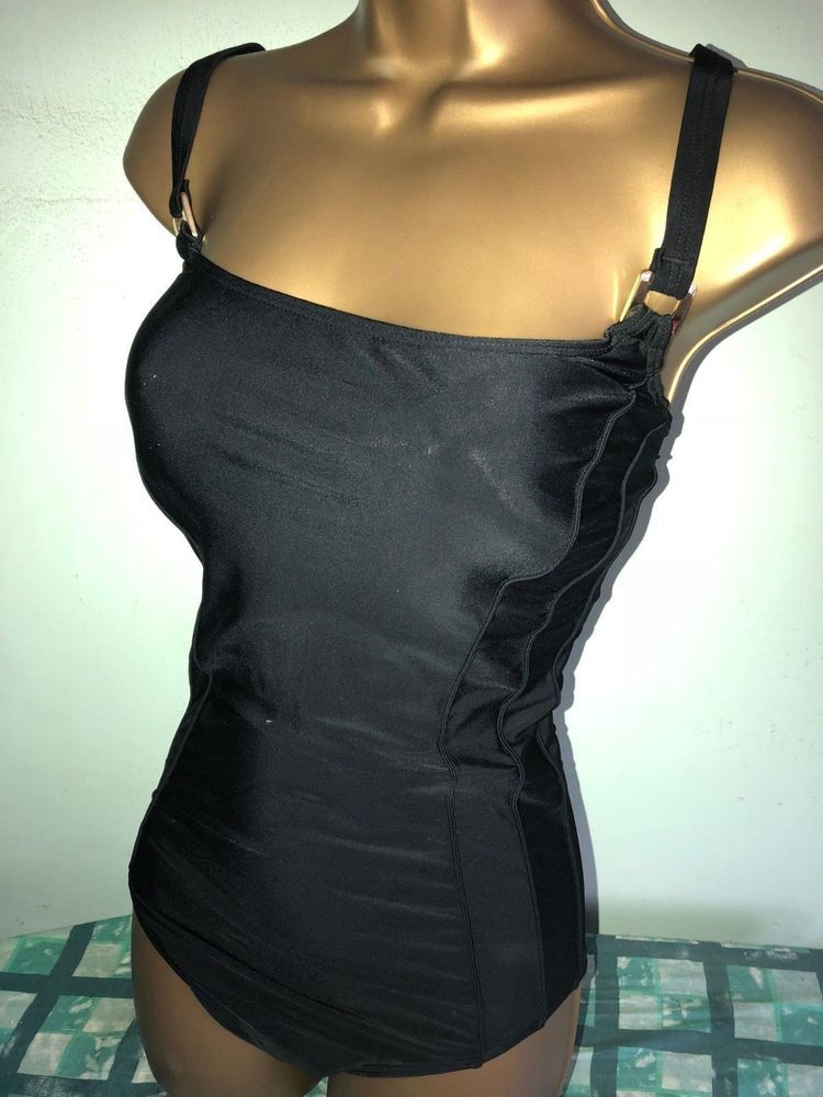 Sexy Ladies Matalan Black Padded Tummy Control Swimsuit Size 20