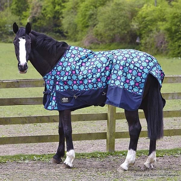 Elicouture Chiltern Turnout Rug Blue Pink Navy Check A