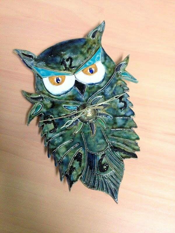 Ceramic owl clock