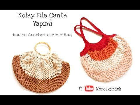 3e1fc81dfc221 Kolay file çanta yapımı, Yazlık çanta, Market çantası   How to crochet mesh  bag, market bag - YouTube