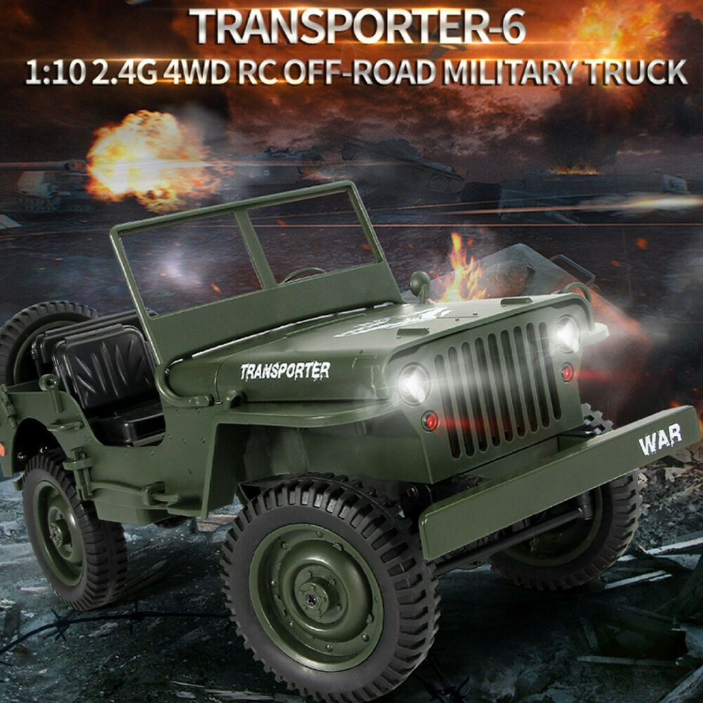 JJRC Q65 Transporter 2.4G 1:10 Jeep Willy Truck Off-Road Military RC Car RTR Toy