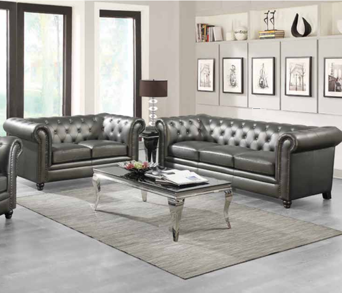 2 Pc Gunmetal Roll Top Sofa Loveseat Set With Feather Down