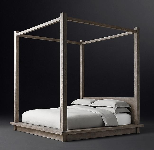 Reclaimed Russian Oak Canopy Bed Canopy bed, Bed, Rh modern