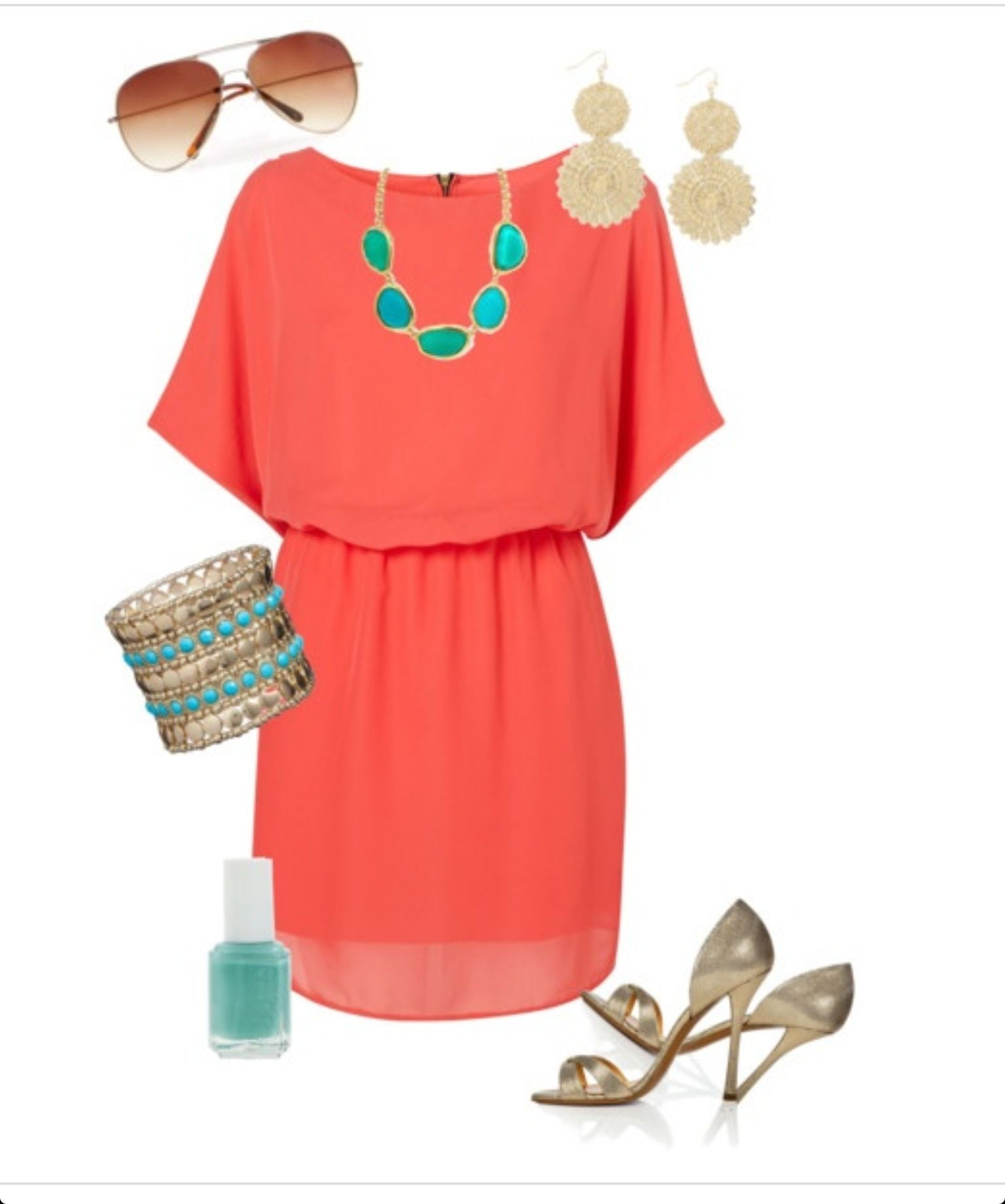 c68f18ecc2c1 Coral and teal with gold looks pretty nice !