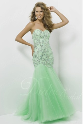 Tulle Mermaid Beaded Long Prom Dress With Diamond SKU: PD3119 Special Price: $218.67 (55% OFF) at http://www.couponcutoff.com/store/didobridal/