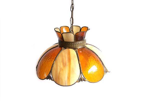 Vintage Hanging Lamp Overhead Swag Pendant Tulip Ceiling