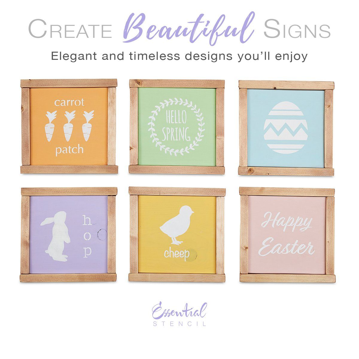 Reusable Spring And Easter Sign Stencils For Painting Wood Signs Diy Farmhouse Easter Decor Hello Spring Stenci Sign Stencils Easter Wood Signs Spring Sign