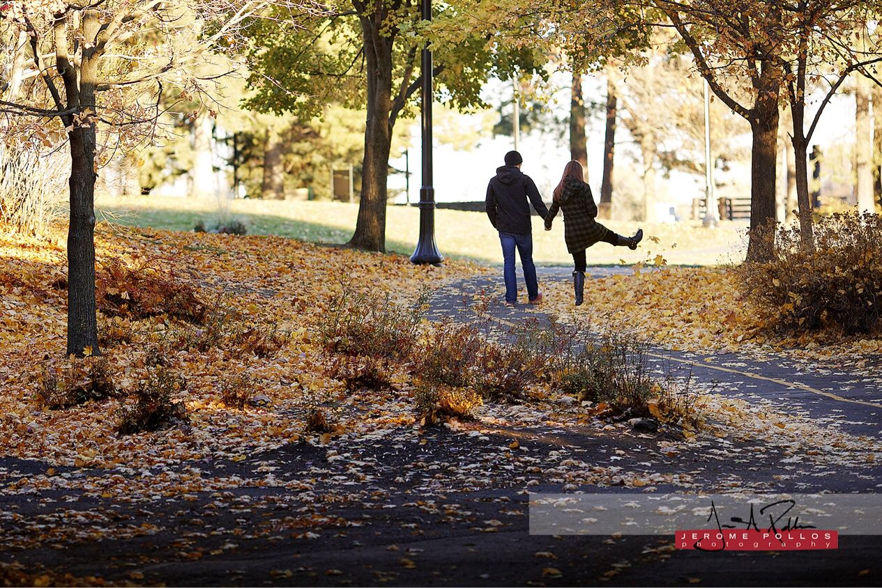 Kaarin just kicking it in the park with Andrew. #engagement #portraits #portraiture #spokane #washington #riverfrontpark #fall #leaves